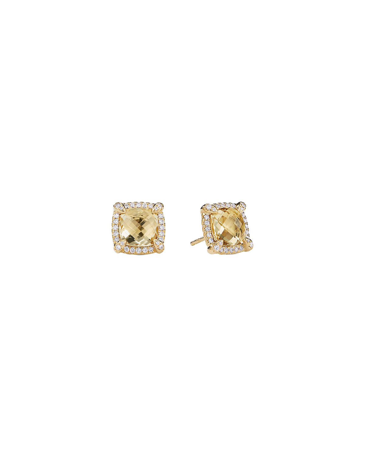 Châtelaine 8mm Champagne Citrine Diamond Earrings