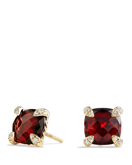 David Yurman 8mm Ch??telaine Garnet Earrings with Diamonds