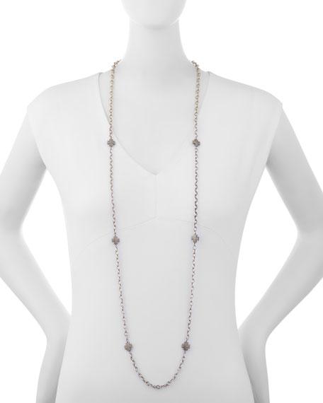 "Diamond Maltese Cross Station Necklace, 48"""