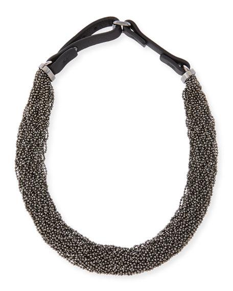 Brunello Cucinelli Multi-Strand Monili Choker Necklace, Silver