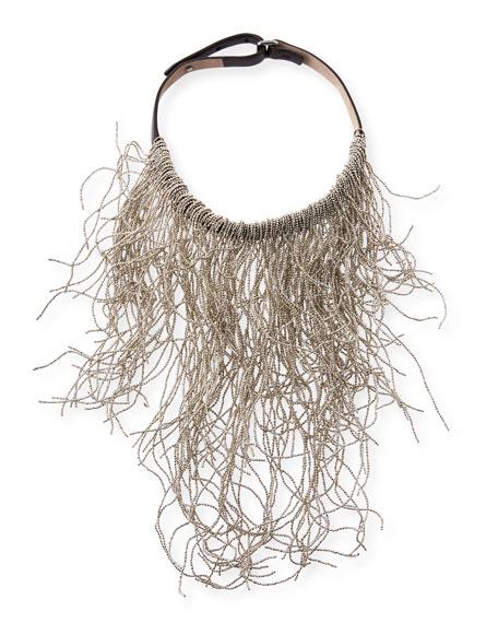 Brunello Cucinelli Wavy Monili Fringe Choker Necklace, Silver