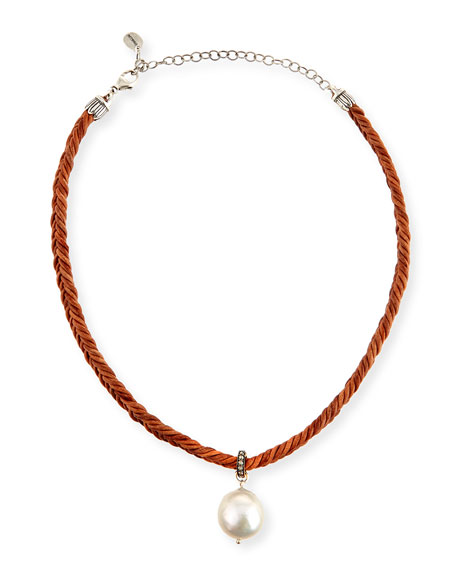 Chan Luu Braided Leather Necklace with Pearl Charm,