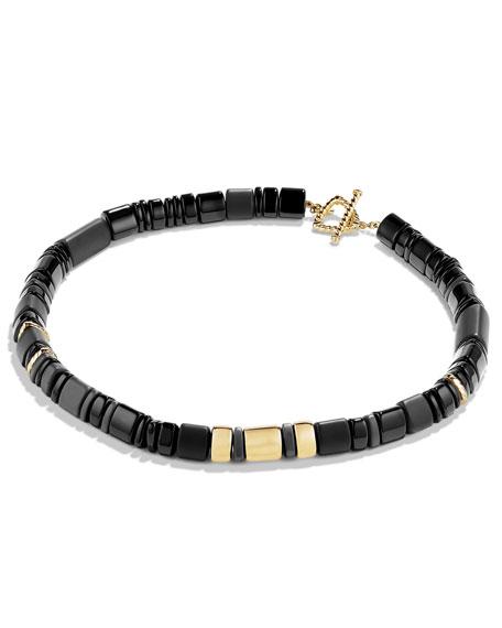 "Nevelson Black Onyx Rondelle Necklace, 18"""