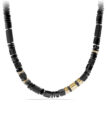 Nevelson Black Onyx Rondelle Necklace, 18""