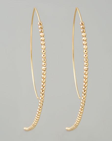 Beaded Marquise Hook-Hoop Earrings
