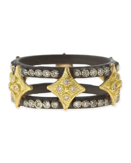 Armenta Midnight Double Cravelli Cross Ring with Diamonds