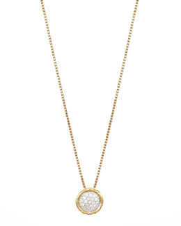 John Hardy Bamboo 18k Gold Pave Diamond Small Round Pendant Necklace