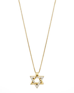 John Hardy 18k Gold Pave Diamond Star of David Pendant Necklace