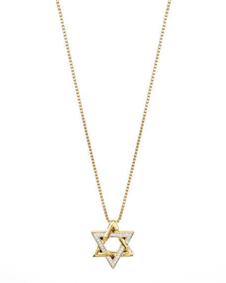 18k Gold Pave Diamond Star of David Pendant Necklace