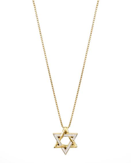 18k Gold Pave Diamond Star of David Pendant Necklace