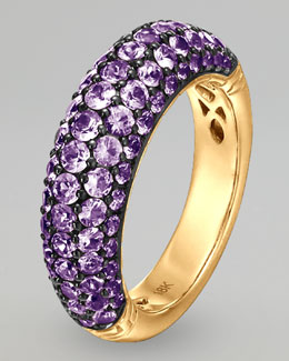 John Hardy 18k Gold Classic Chain Violet Sapphire Slim Dome Ring