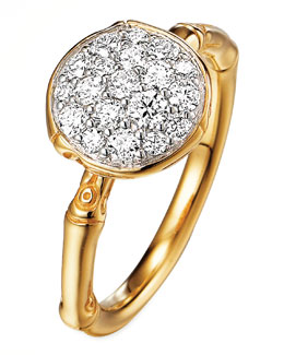 John Hardy Bamboo 18k Gold Diamond Round Ring, Size 7