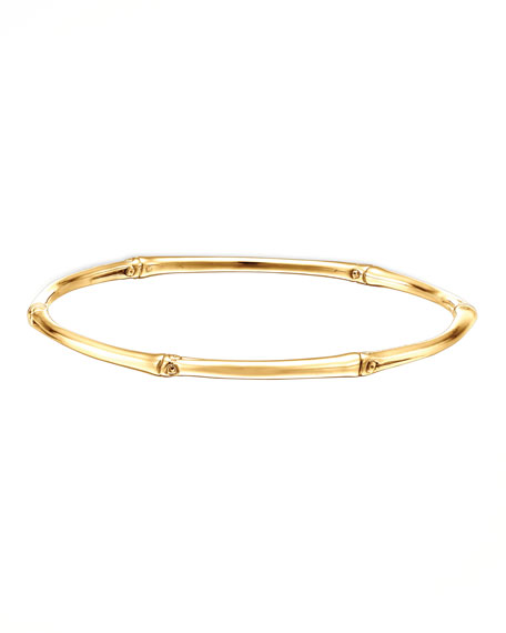 Bamboo 18k Gold Slim Bangle Bracelet