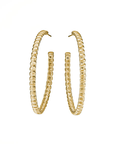 John Hardy Bedeg 18k Gold Medium Hoop Earrings