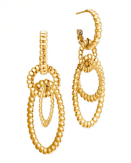John Hardy Bedeg 18k Gold Circle Hoop 3-Drop Earrings