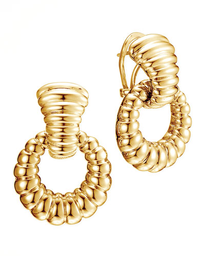 John Hardy Bedeg 18k Gold Door-Knocker Earrings