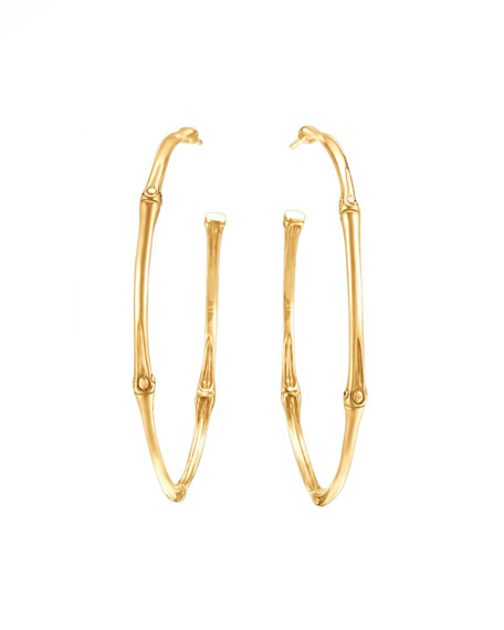 John Hardy Bamboo 18k Gold Large Hoop Earrings | Neiman Marcus