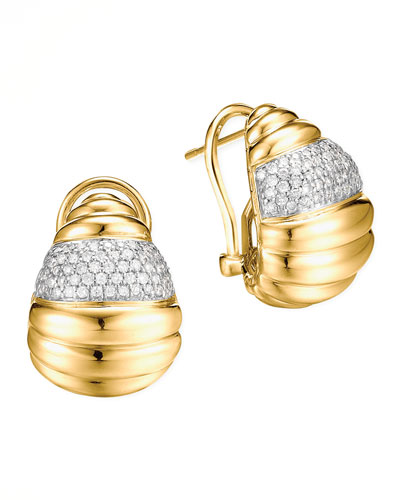 John Hardy Bedeg 18k Gold Diamond Pave Buddha Belly Earrings