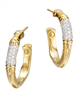 John Hardy Bamboo 18k Gold Pave Diamond Small Hoop Earrings