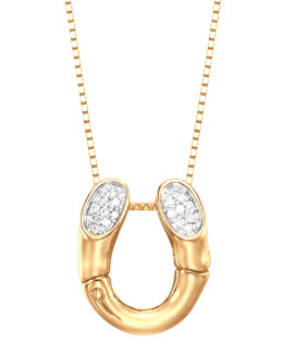 John Hardy Bamboo 18k Gold Pave Diamond Horseshoe Pendant Necklace