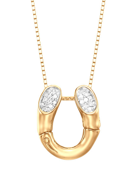 John hardy bamboo 18k gold pave diamond horseshoe pendant necklace bamboo 18k gold pave diamond horseshoe pendant necklace aloadofball Image collections