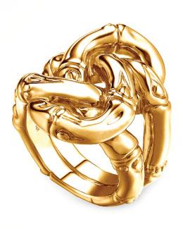 John Hardy Bamboo 18k Gold Knot Ring, Size 7