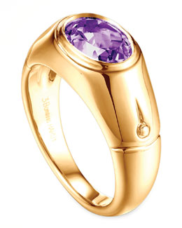 John Hardy Batu Bamboo 18k Gold Amethyst Signet Ring, Size 7