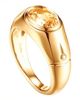 John Hardy Batu Bamboo 18k Gold Citrine Signet Ring, Size 7