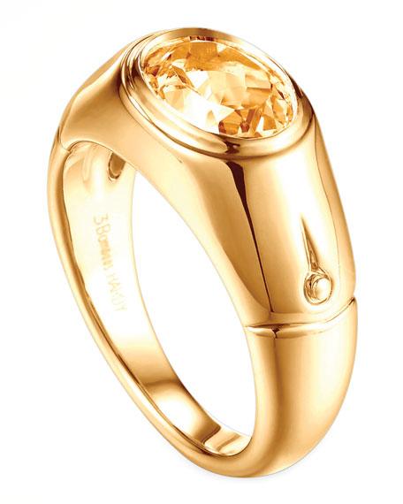 Batu Bamboo 18k Gold Citrine Signet Ring, Size 7