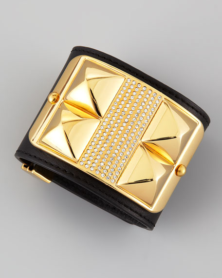 Studded & Pave Leather Cuff, Black/Golden