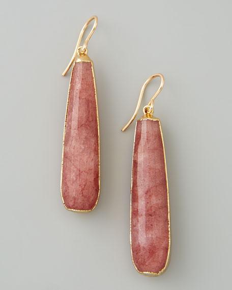 Long Plum Quartz Teardrop Earrings