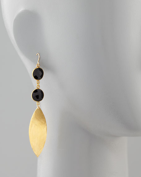 Double Black Onyx & Gold Leaf Earrings