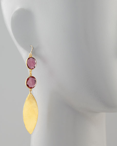 Double Amethyst Quartz & Gold Leaf Earrings