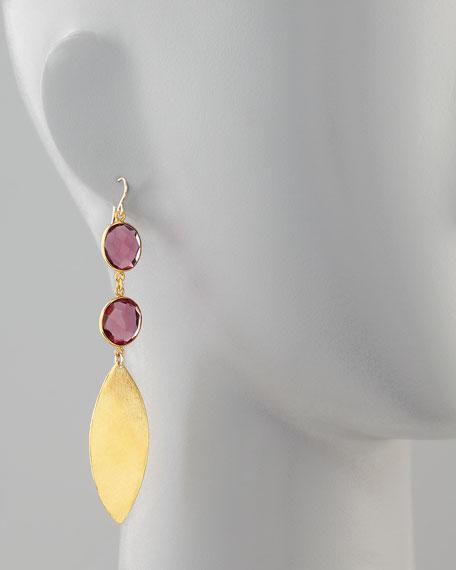 Double Amethyst Quartz & Gold Leaf Earrings