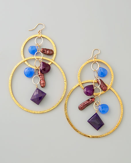 Purple Pearl & Chalcedony Cluster Hoop Earrings