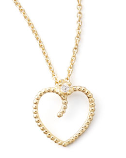 Roberto Coin Yellow Gold Diamond Open Heart Pendant Necklace