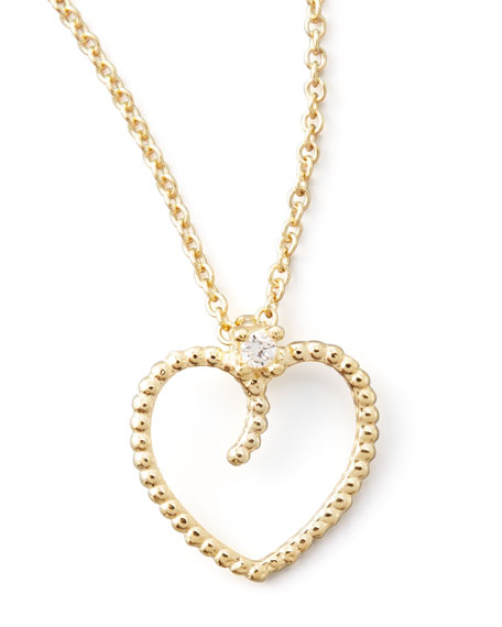 Yellow Gold Diamond Open Heart Pendant Necklace