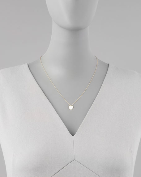 Yellow Gold Diamond White Heart Pendant Necklace
