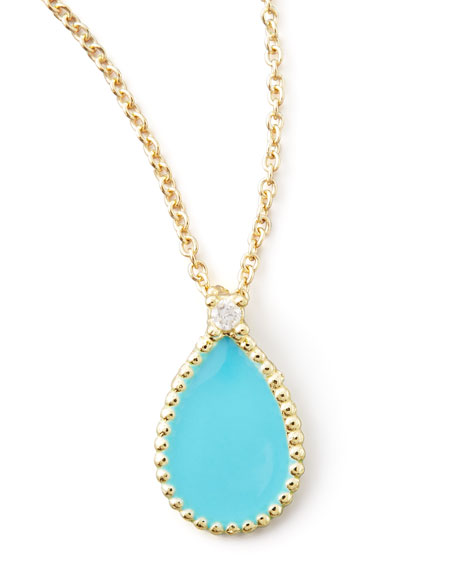 Yellow Gold Diamond Turquoise Teardrop Pendant Necklace