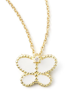 Roberto Coin Yellow Gold Diamond White Butterfly Pendant Necklace