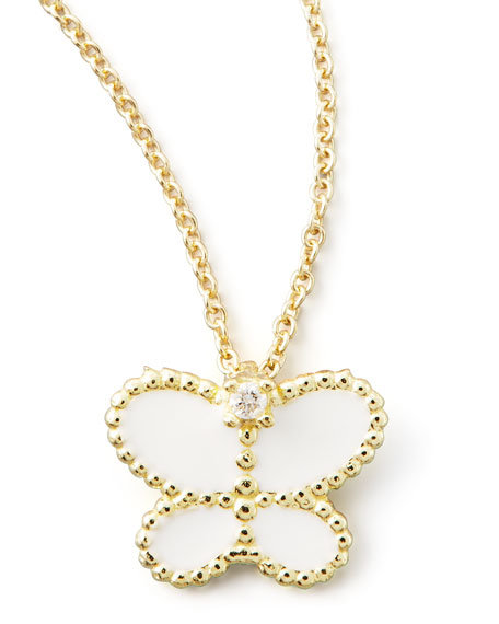 Yellow Gold Diamond White Butterfly Pendant Necklace