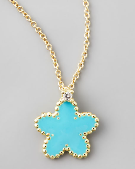 Yellow Gold Diamond Turquoise Flower Pendant Necklace