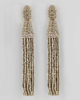 Oscar de la Renta Beaded Long Tassel Earrings, Champagne