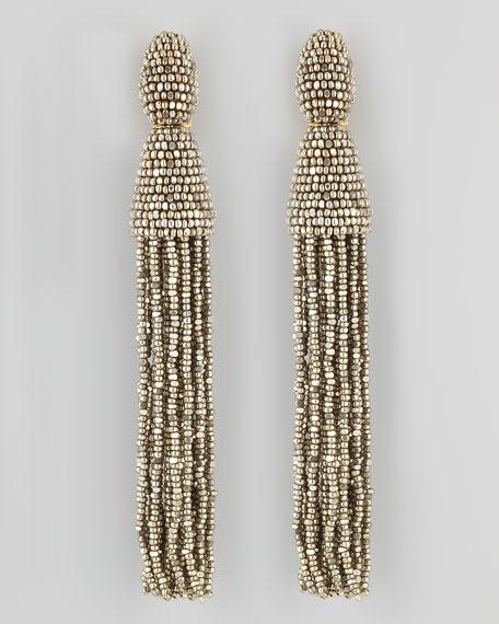 Beaded Long Tassel Earrings, Champagne