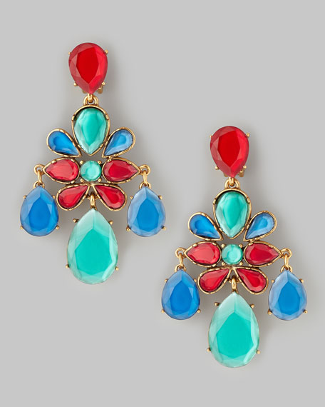 Faceted Chandelier Earrings, Multicolor