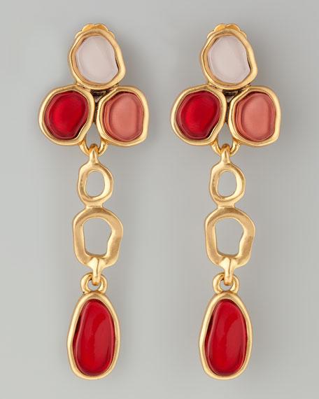 Resin Cabochon Earrings, Cinnabar