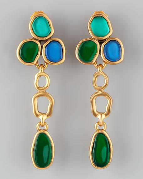 Resin Cabochon Earrings, Larimar Blue/Green