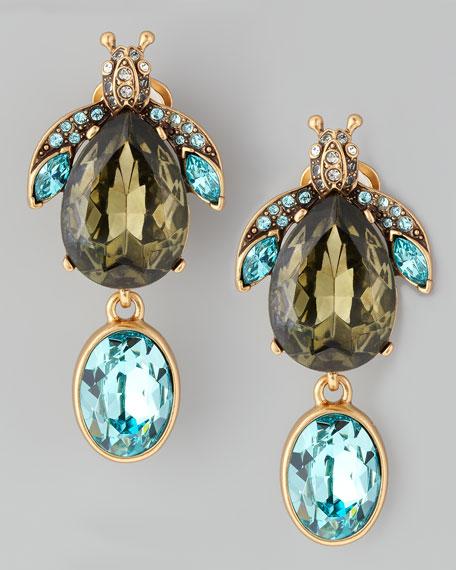 Crystal Bug Clip Earrings, Green/Blue