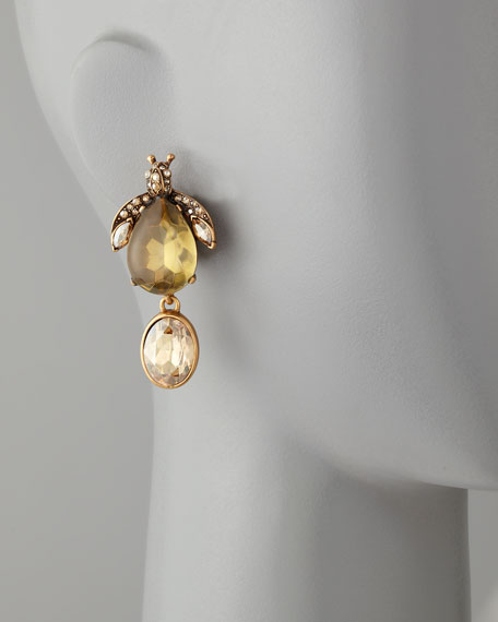 Crystal Bug Clip Earrings, Champagne