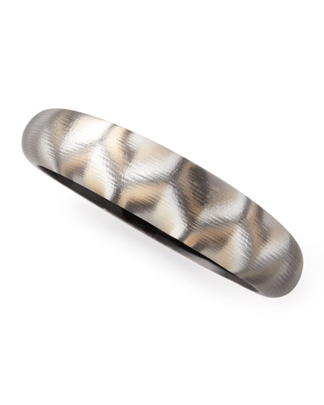 Mod Geometric-Pattern Lucite Bangle, Neutral